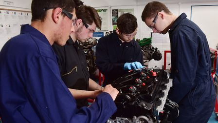 Students from East Coast College, Lowestoft, are now able to work on new engines donated by Vauxhall
