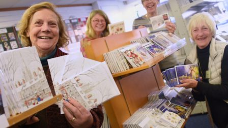 Volunteers at the Original Norwich Charity Christmas Card Shop in St Stephens Street in 2018. From