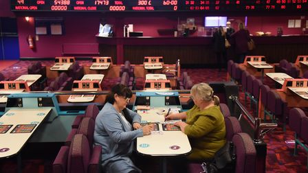 Sue Daniels, left, and Debbie Jeffries play in the Mecca Bingo hall. Picture: DENISE BRADLEY