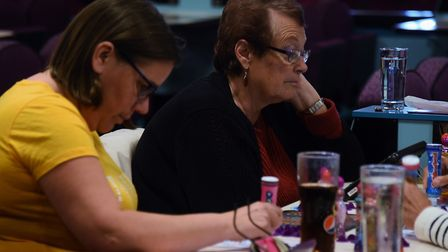Bernice Sewell, right, plays bingo with her daughter-in-law Tracey Sewell at the Mecca Bingo. Pictur