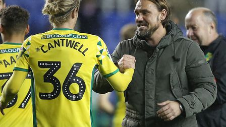 Happier times - Daniel Farke celebrates victory at Reading with Todd Cantwell just over two years ag