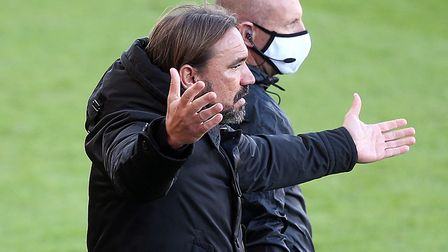 Norwich City head coach Daniel Farke appeals for a penalty at Bournemouth after Max Aarons was broug