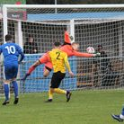 Action from the Thurlow Nunn Premier League encounter at Walmer Road, which finished Kirkley & Pakef