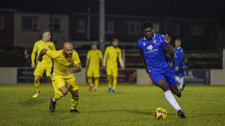New Lowestoft Town loan signing from Ipswich, striker Colin Oppong, in action during the Lowestoft T