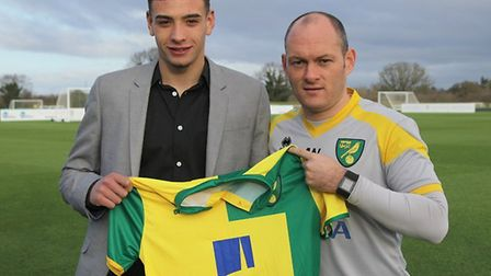 Godfrey was unveiled as a City signing in 2016. Picture: Norwich City