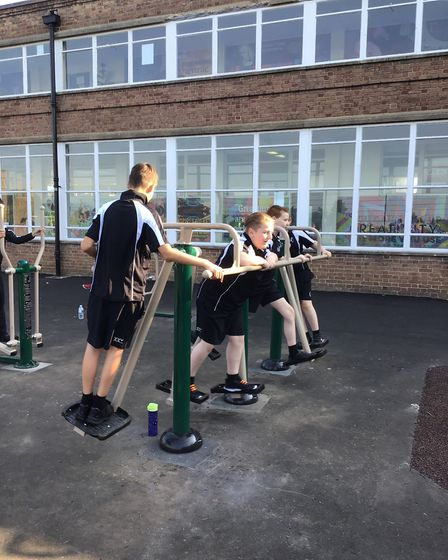 Pupils enjoy the 'Big Rig' outdoor gym at Hewett Academy. Picture: Friends of Hewett