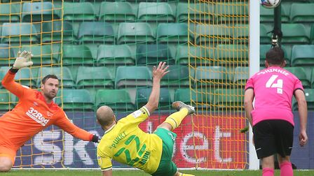 Teemu Pukki slipped as he took a penalty for Norwich when it was still 0-0 against Derby at Carrow R