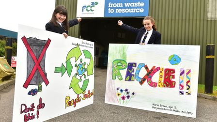 Local school children have taken part in an art competition to design signs to promote recycling.Emm