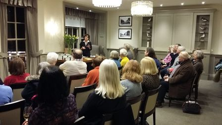 Suzette Hill during a previous book signing and talk at Southwold Books.