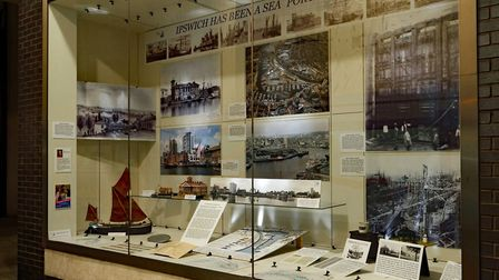 The new exhibition in the Ipswich Maritime Trust Window Museum, tracing the story of the Wet Dock Pi