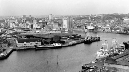 This photo taken from the top of the Gasometer by David Kindred in 1977 shows the Wet Dock in the fi