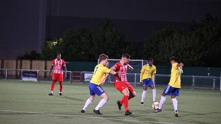 Redbridge in action against Woodford Town on Friday evening (Pic: Philip Lindhurst)