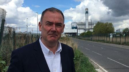 Dagenham and Rainham MP Jon Cruddas at the existing Cory Energy waste incinerator. Picture: Andrew A