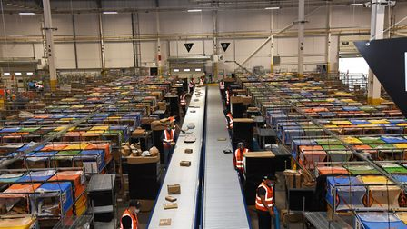 A new Amazon sorting warehouse is now in operation at Eastern Gateway Enterprise Park in Ipswich Pi