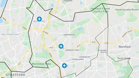 What a map of testing centres in Redbridge would look like if the third site opens. Picture: Google