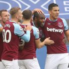 West Ham United's Michail Antonio (2nd right) celebrates with team-mates after scoring his side's fi