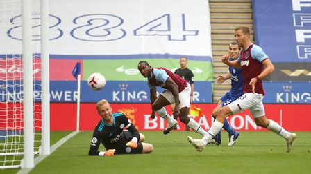 West Ham United's Michail Antonio scores his side's first goal of the game during the Premier League