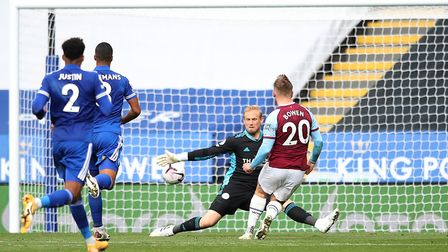 West Ham United's Jarrod Bowen scores his side's third goal of the game during the Premier League ma