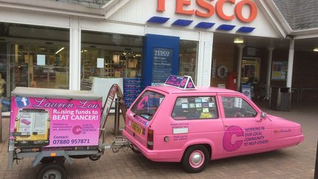 Tesco Big pink collections. On Saturday, April 29 Team Lauren Lou in aid of cancer research uk held