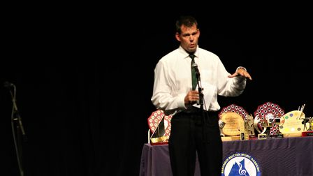 Duncan Slater gives a speech during the Benjamin Britten Music Academy awards ceremony. Picture: Reb