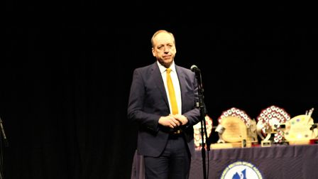 Headmaster Jim McAtear gives a speech during the Benjamin Britten Music Academy awards ceremony. Pic