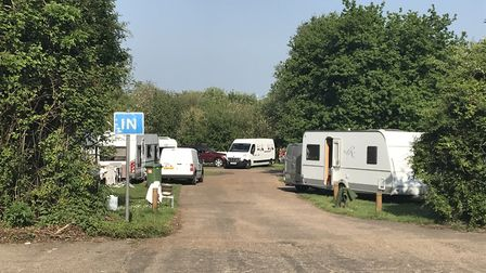 Travellers have set up camp in the car park by Pets Corner in Oulton Broad. Picture: Archant.
