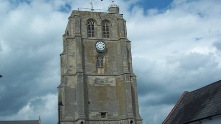 The Union Jack flag flying at half mast at St Michael's Church tower in Beccles. Picture: Courtesy o