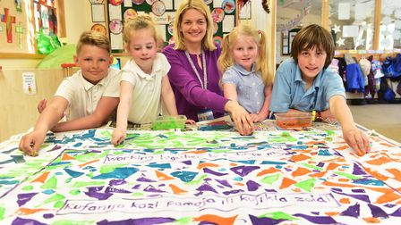 Youngsters at Blundeston primary school celebrate Kagera day with the Ipswich and St Edmundsbury dio