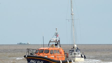 Lowestoft lifeboat on a call out. Credit: Mick Howes