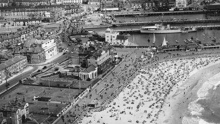 An aerial view of Lowestoft beach on a busy Bank Holiday Monday taken in August 1952. Picture: Archa