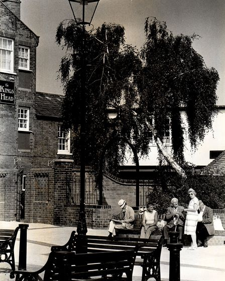 Sitting outside the King's Head Hotel in Beccles in 1988. Picture: Archant library.