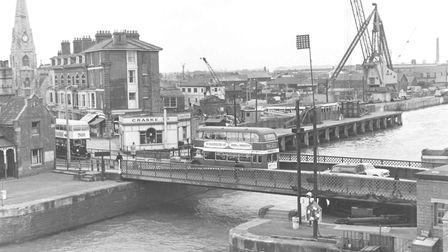 Lowestoft harbour and swing bridge, dated March 1966. Picture: Archant library.