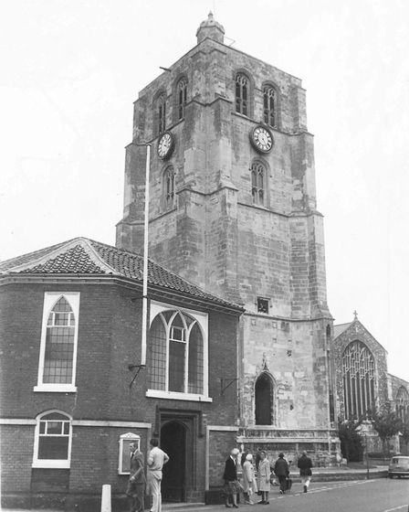 The detached tower of St Michael's Church, Beccles, which has been restored, taken in 1979. Picture: