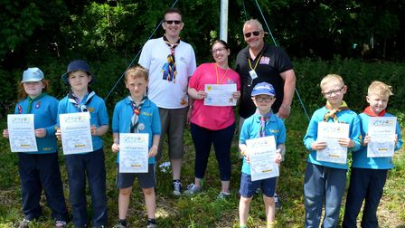 The Beaver Scouts presenting their funds to Topcats. Picture: Mick Howes.
