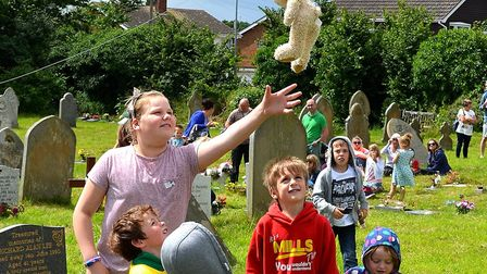 A scene from the Pakefield Church fete last year, with the teddy bear drop. Picture: MICK HOWES