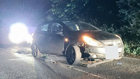 A black Vauxhall Corsa was found on the B1074 Somerleyton Road near Lowestoft on June 4 at around 1.