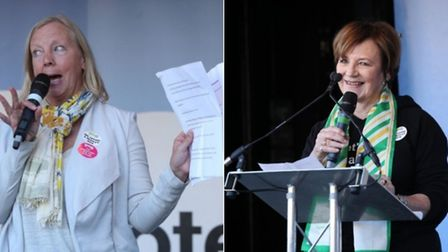 Deborah Meaden and Delia Smith at the People's Vote march (Photograph: PA)