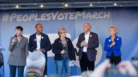 Speakers from across the political divide at the People's Vote march (Photograph: Timothy Mead)