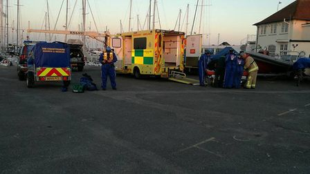 Coastguard rescue officers from Lowestoft and Southwold were called out to assist after a woman was