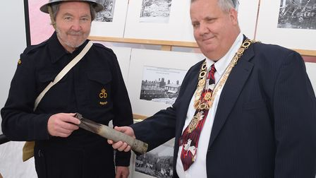 Aviation historian Bob Collis with Lowestoft mayor Ian Graham at the 1940s festival weekend. Picture