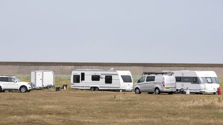 Travellers have set up a camp just off Whapload Road in Lowestoft. Photo: Nick Butcher.