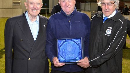 Dennis Meadows, pictured left, served Suffolk FA for over 60 years.Photo: Mick Howes.