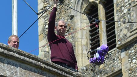 A brave teddy bear takes the plunge at St Margaret's Church Fete 2017. Photo: Mick Howes.