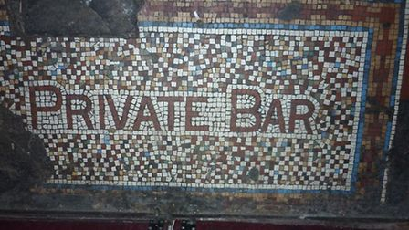 The mosaic at the entrance of the historical Wenlock Arms