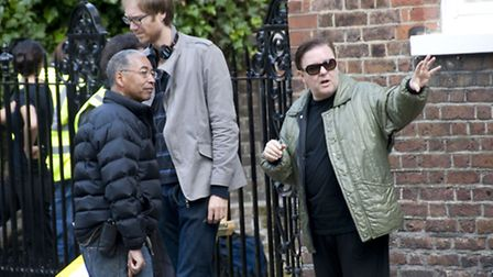 Ricky Gervais directing 'Cemetery Junction' on location in Church Row, Hampstead. Picture: Nigel Sut