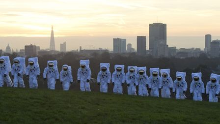 War of the Worlds: Reminiscent of a scene from the famous novel, spacemen walk on Primrose Hill. Pic