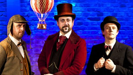 Simon Snashall as Fix of the Yard, Iain Ridley as Passepartout and Matt Odell as Phileas Fogg.