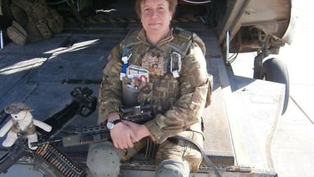 Lorraine Lawton on the back of an an RAF rescue helicopter in Camp Bastion