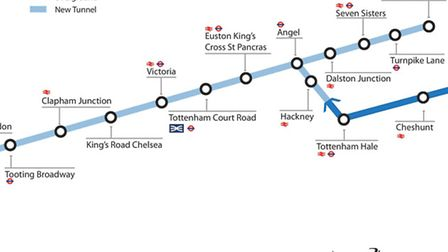 A section of the proposed route for the Crossrail 2 rail line