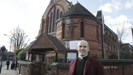 Andrew Cain, vicar at St James's Church in West Hampstead, which will be opening a post office. Pict